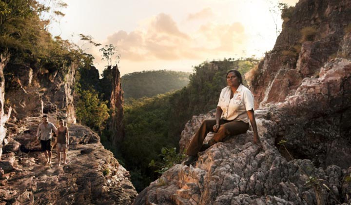 NEW WEBSITE Gallery 720 x 420 0003 Indigenous guide Tess Atie at Tolmer Falls in Litchfield National Park