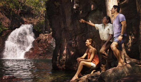 NEW WEBSITE Gallery 720 x 420 0005 Indigenous guide Tess Atie with travellers at Florence Falls in Litchfield National P