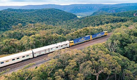 NEW WEBSITE Gallery 0018 IP 1 AG Indian Pacific heading through the Blue Mountains
