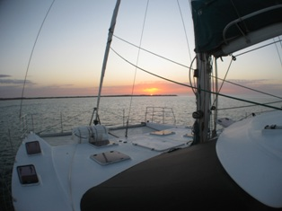 Sunset on the bow